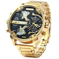 Часы мужские кварцевые с двойным часовым поясом, роскошные золотистые стальные повседневные в стиле милитари