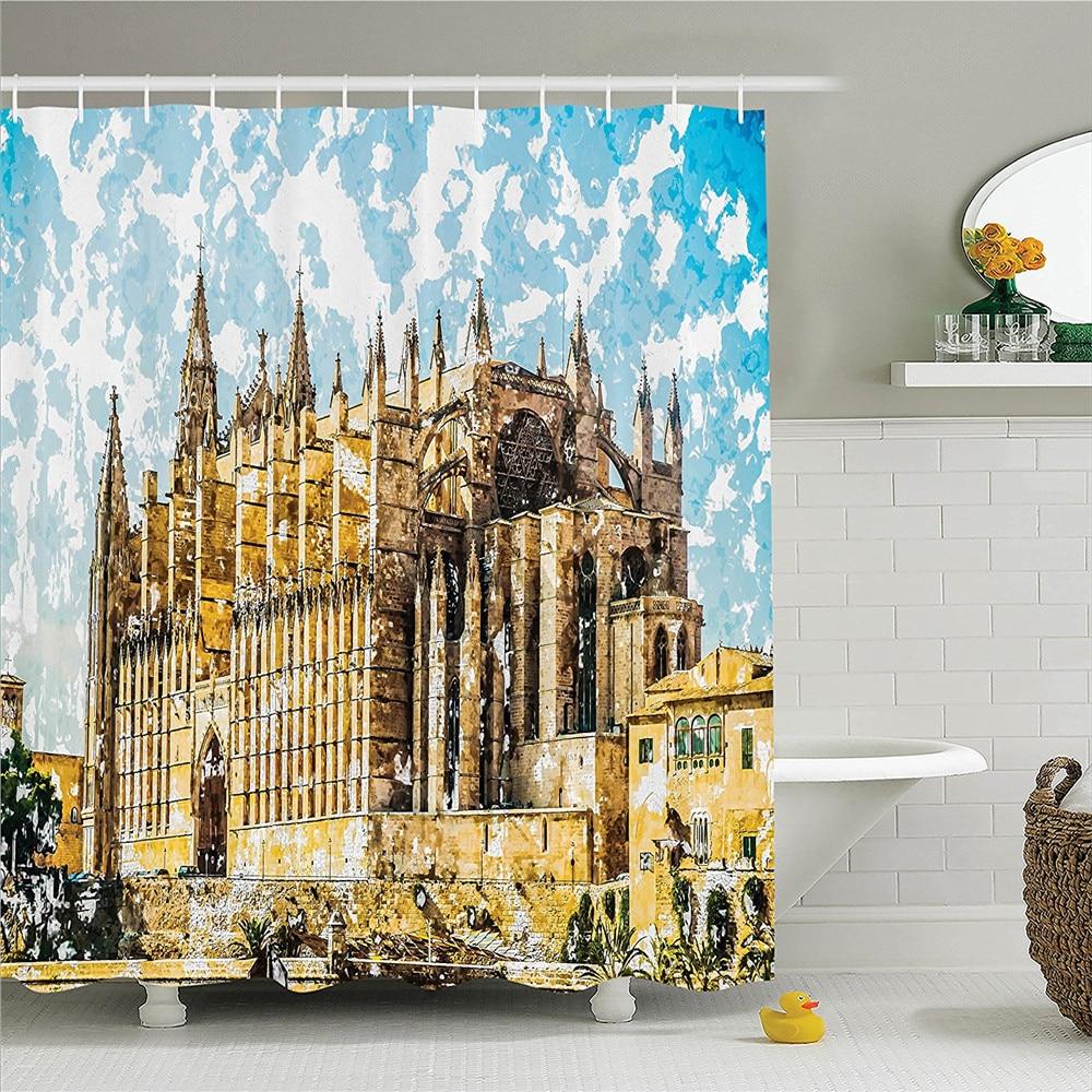 Cortina De ducha De decoración gótica Set iglesia gótica grande en la Catedral De la costa del Mar De Palma vista De la carretera cuarto de baño