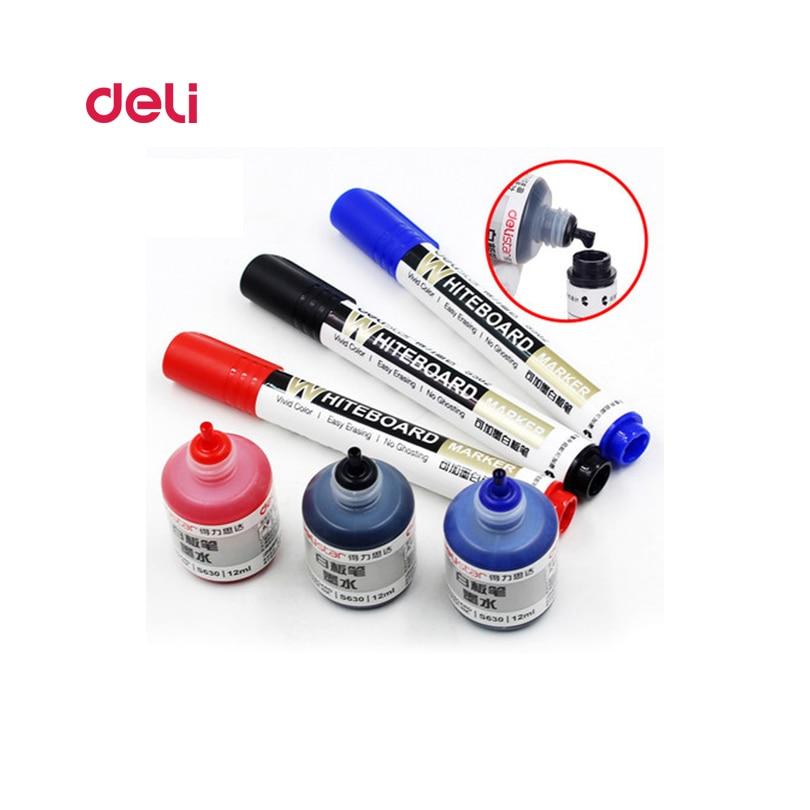 Deli Erasable Whiteboard Marker Pen 1pcs + 1 bottle ink set office Dry Erase Markers Blue Black Red Office Supplies