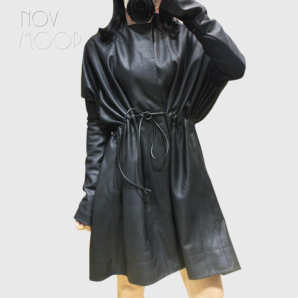 Women black genuine leather top grade lambskin long coats tie waist elasticized rib knit panel sleeve windbreaker outwear LT2476