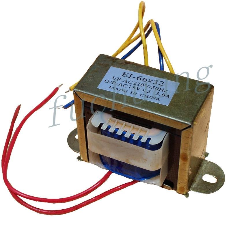 Аудио трансформатор 220 В одиночный Поворот двойной 18 в вольт Выход AC3A аудио электрический выпрямитель EI66 * 32 силовой трансформатор переменного тока 40W