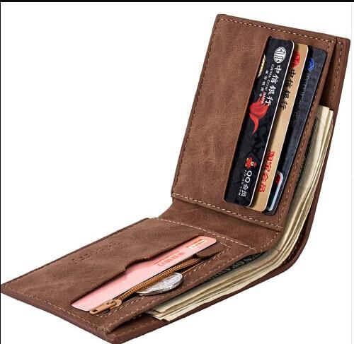 2019 Men Simple Fashion Slim PU Leather Short Wallet Folding Men Male Premium Zip Smart Wallet Mini Slim Card Wallet Men Wallets