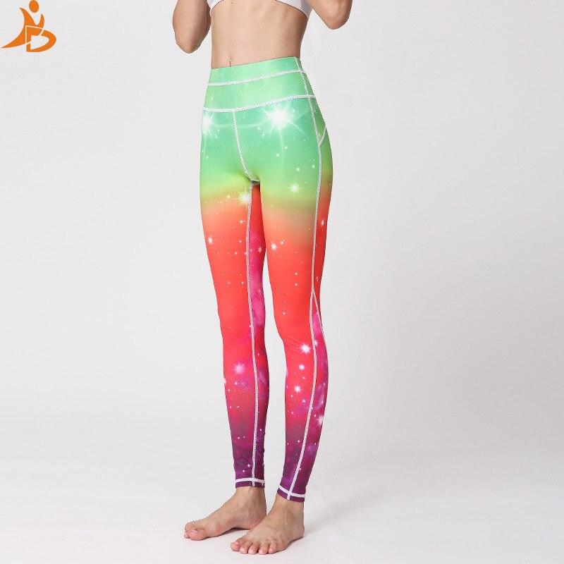 2019 nueva estrella impresa yoga Pantalones Casual slim leggings deporte correr gimnasio secado rápido fitness alta cintura sexy leggings