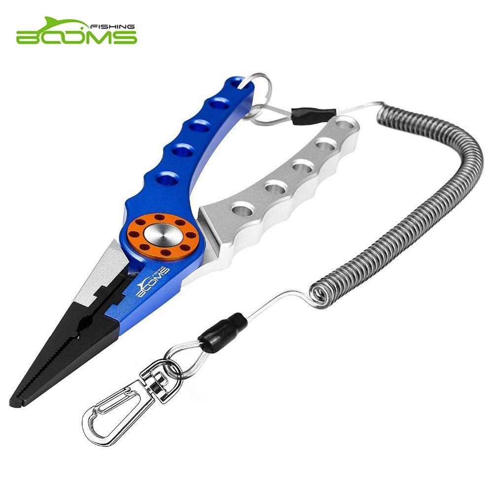 Alicates de aluminio para pesca X1 de boom, línea trenzada para quitar anzuelos, corte y división de anillo con cordón en espiral y funda