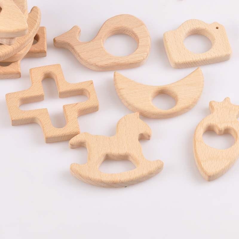 Juego de mordedores artesanales de madera de 54-78mm 5 uds Moon Trojan con cuentas de madera y flores de corazón MT2070