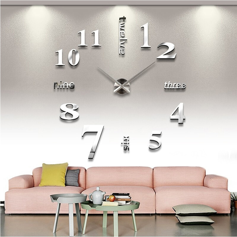 new Quartz wall clocks fashion watches 3d real big clock rushed mirror sticker diy living room decor free shipping