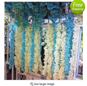 Metro de Comprimento Flor de Seda Rattan para Decoração de Casamento Cores em Estoque Elegante Artificial Wisteria Videira Hortênsia Adereços 10 2