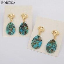 BOROSA Design 5/10Pairs Gild Teardrop Copper Natural Turquoises Slice Drop Earrings Gemstones Slice Earring Jewelry G1796