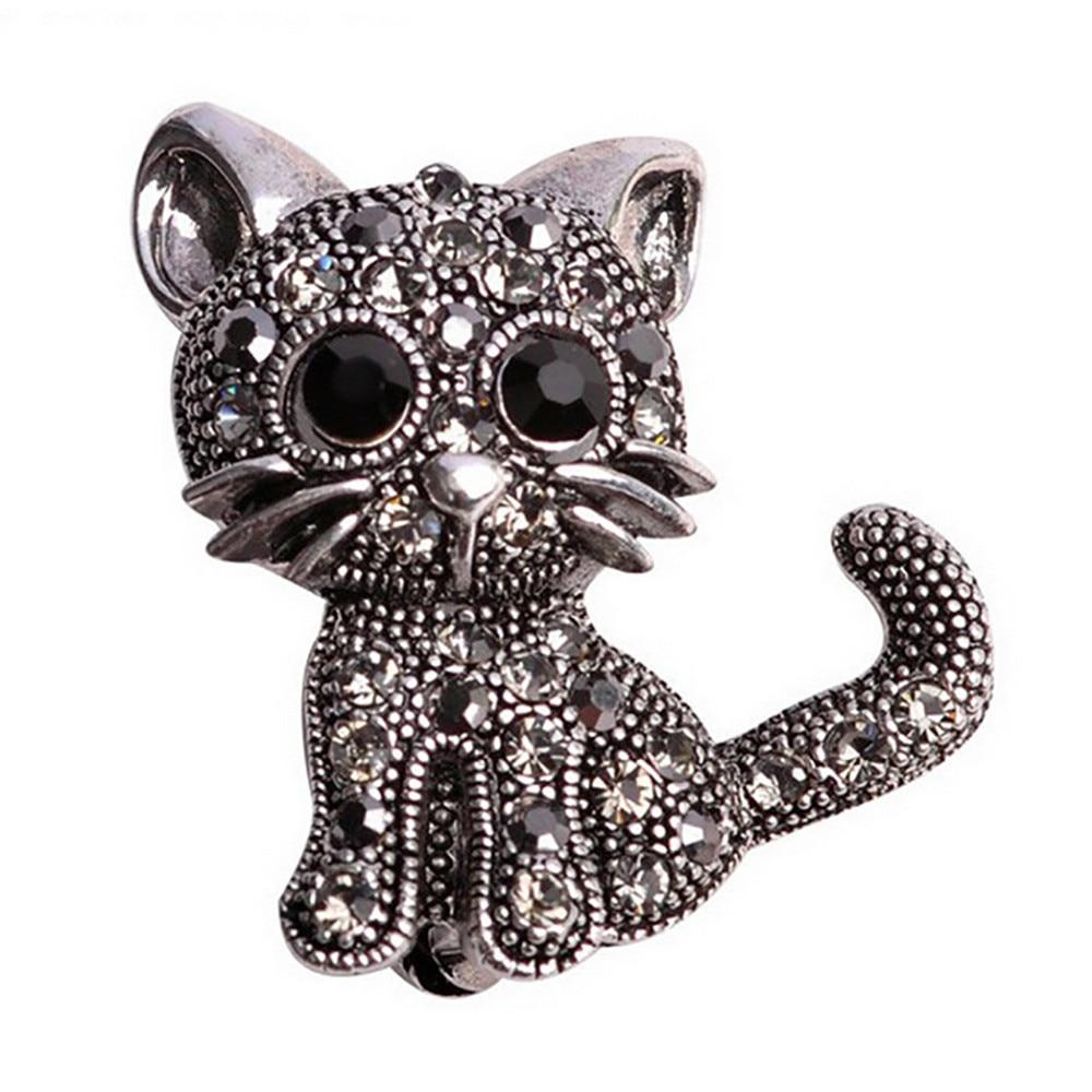 PIN de broche de gato restaurando maneras antiguas joyería conmemorativa de pareja regalos de amor broche de cristal lindo gato mujeres sombreros bufanda Sui pins #010