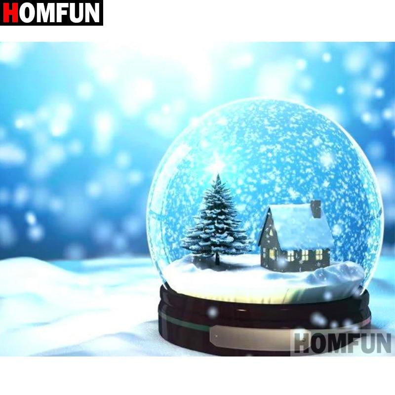 """HOMFUN cuadrado completo/taladro redondo 5D DIY diamante pintura """"Casa nieve escena"""" 3D diamante bordado punto de cruz decoración de casa A19924"""