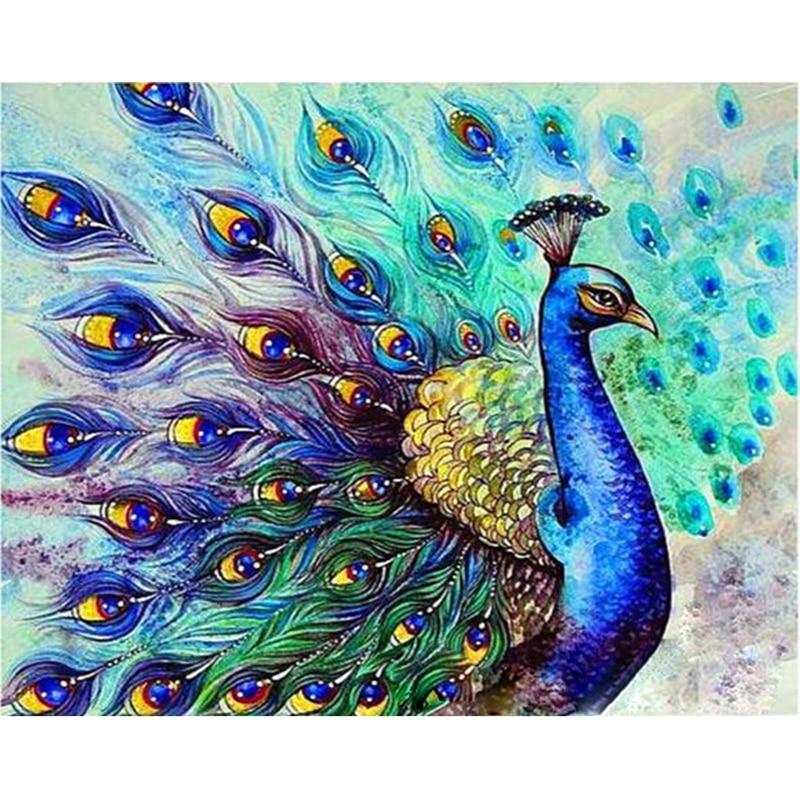 Pavo Real pantalla abierta Animal pintura Digital de DIY por números en la lona, pintura moderno cuadro sobre lienzo para pared regalo para niños decoración hogar 40x50cm