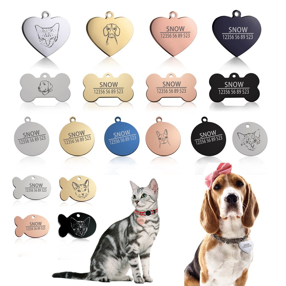 New Cat Dog ID Tag Custom Free Engraving Personalized Dog Collar Pet Charm Name Pendant Bone Necklace Collar Puppy Accessory