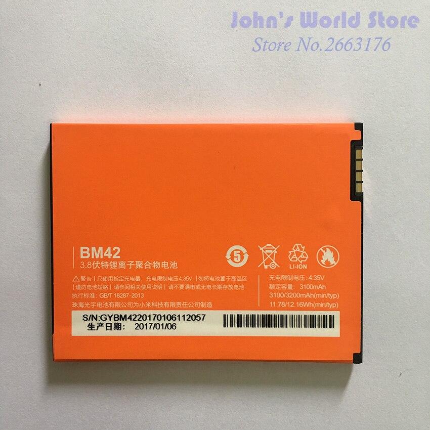 Для Xiaomi Redmi Note батарея BM42 Новинка Высокое качество 3100 мАч литий-ионный аккумулятор замена для Hongmi Note / Xiaomi Red Rice Note