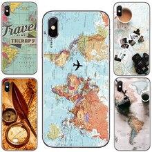 Carte du monde voyage Just Go Coque de téléphone souple et transparente Fundas pour iPhone XS MAX 5 6 6plus 7 7plus 8 8plus X Fundas Cover