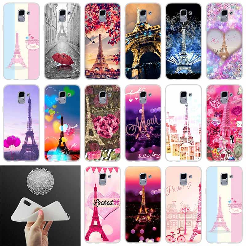 Funda de silicona para teléfono Torre Eiffel París amor rosa para Samsung Galaxy J6 J4 J8 J7 2018 Plus J3 J5 J7 Prime Pro 2017 2016