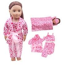 18 inch Girls doll Bedding pink sleeping bag pillow pajamas American newborn eye mask Baby toys fit 43 cm baby dolls c305