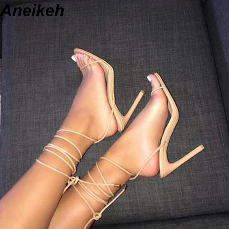 Aneikeh 2019 elegante sandálias de plutônio feminino fino salto alto cinto fino redondo toed laço vestido de escritório diário 35-40 preto damasco branco