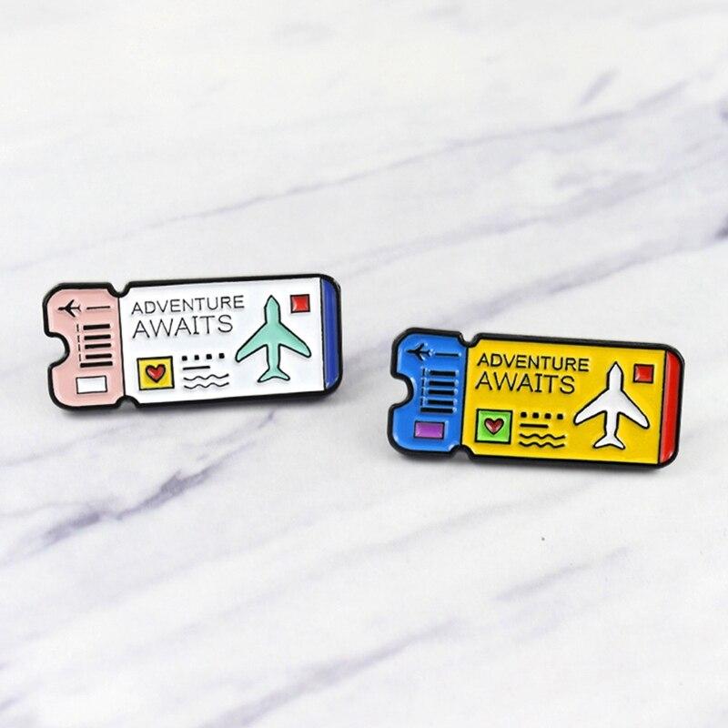 Aventura espera Diario Viajes esmalte Pins Explorer Ticket broche montañas explorar naturaleza insignia escena para niños amigos