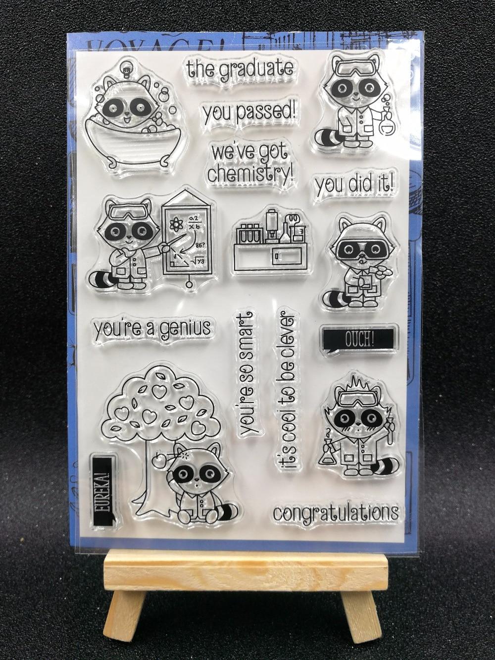 Sello de silicona transparente para experimentos de química/sello para álbum de recortes DIY/hojas de sellos transparentes decorativas para álbum de fotos A1202