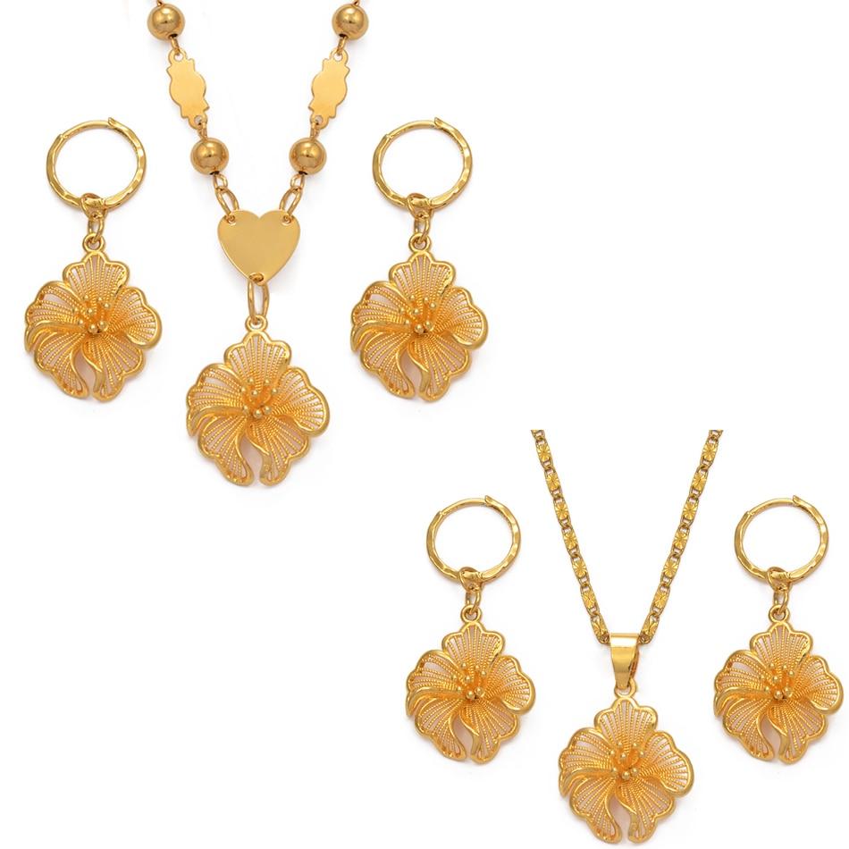 Anniyo Hawaii Flower Pendant Necklaces Earrings Women Girl Gold Color Guam Micronesia Marshall Island African Jewelry Set#017707