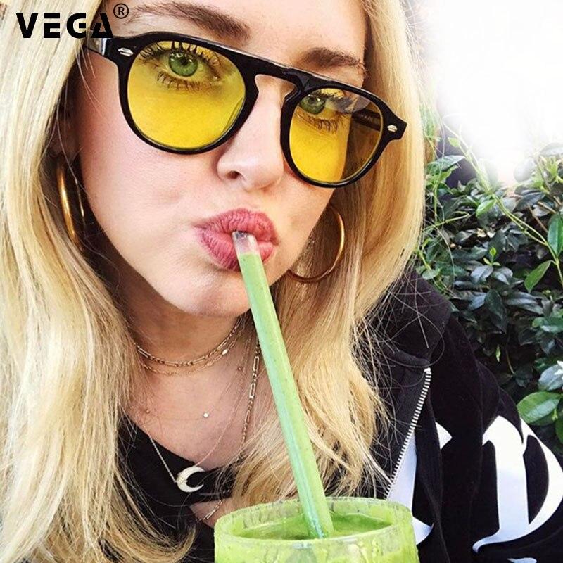 VEGA Eyewear Oval Vintage Yellow Sunglasses Women/Men Retro Yellow Glasses 2019 Fashion Tinted Sunglasses for Women          339