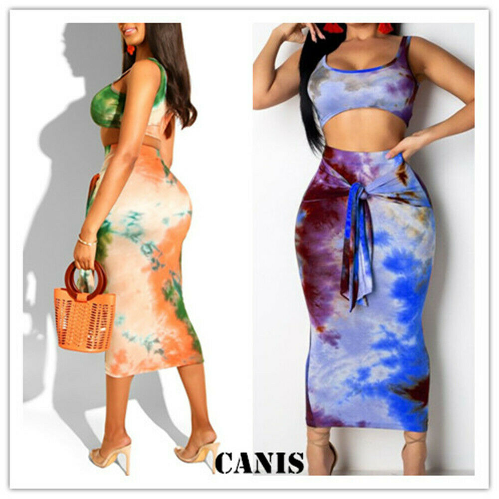 New Elegant Fashion Bohemian Womens Ladies Summer Sexy Slim Sleeveless Beach  Holiday Strappy Crop+Skirt 2pcs Set