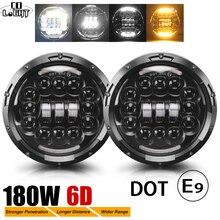 """CO LIGHT 7"""" 180W LED Headlight 6D Car Led Driving Lights Hi/Lo Beam DRL White Amber 12V Led for Jeep Wrangler Hummer Lada  Niva"""