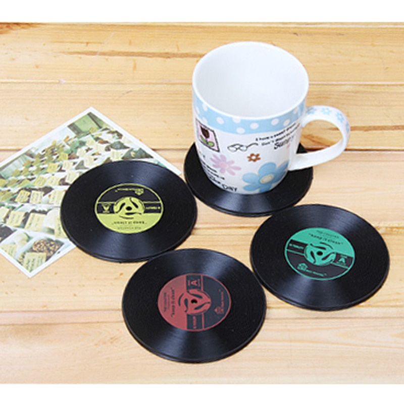 4 unids/lote vinilo Vintage posavasos de disco taza de mesa de Bar bebidas Mat de silicona