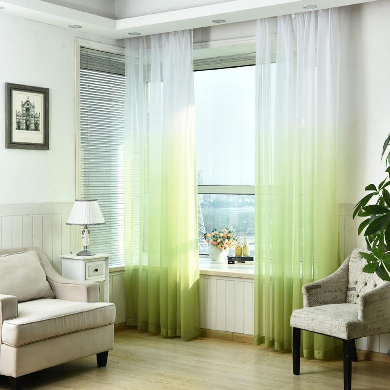 Luxo cinza cortinas para a sala de estar verde gradiente semi-blackout pano cortinas para o quarto azul tule cortinas