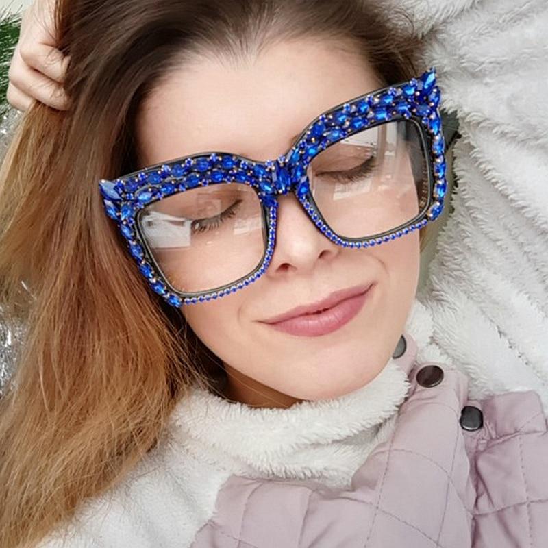 2019 óculos de sol oversized mulher luxo do vintage rosa vermelho cristal claro lente óculos de sol masculino feminino simples oculos