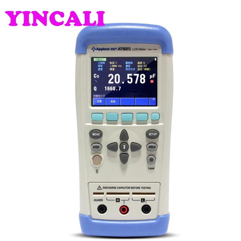 Оригинальный AT825 точный ручной измеритель иммитанса цифровой ESR Тестер TFT LCD сенсорный экран частота 100 Гц, 120 Гц, 1 кГц, 10 кГц
