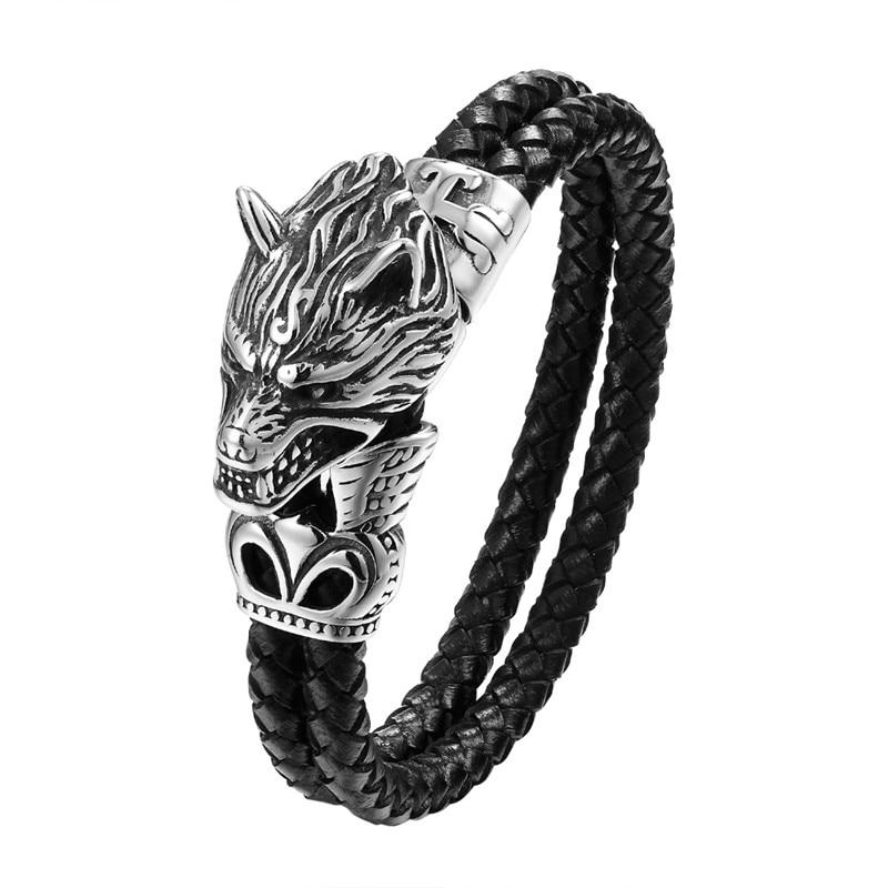 2019 Fashion Men Jewelry Titanium Steel Wolf Head Bracelet High Quality Leather Woven Wristband Charm Bracelet Antique Gift
