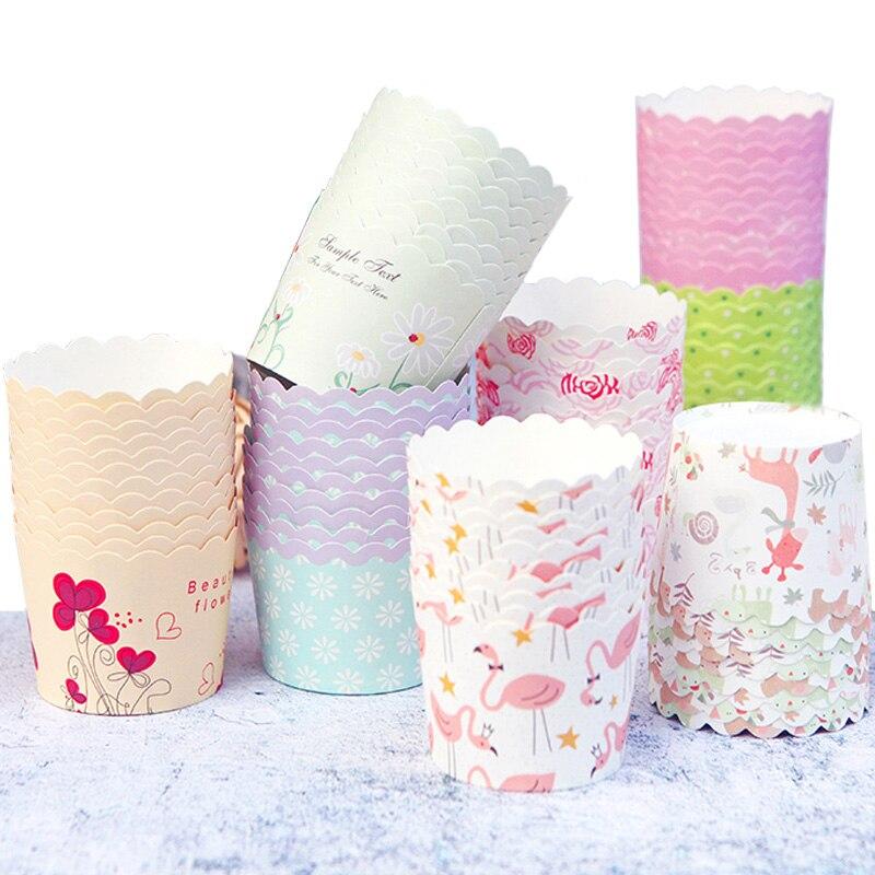50 шт./лот Фламинго Жираф цветы свадьба день рождения праздничное украшение торта бумага Маффин кекс чашки