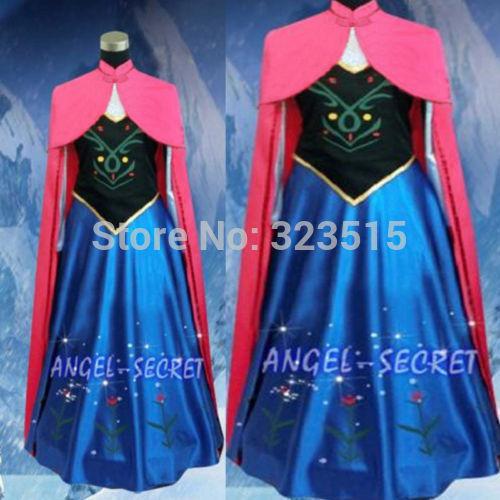 Костюм Снежной королевы Анны для взрослых, костюм для женщин с накидкой, платье для коронации, Прямая поставка
