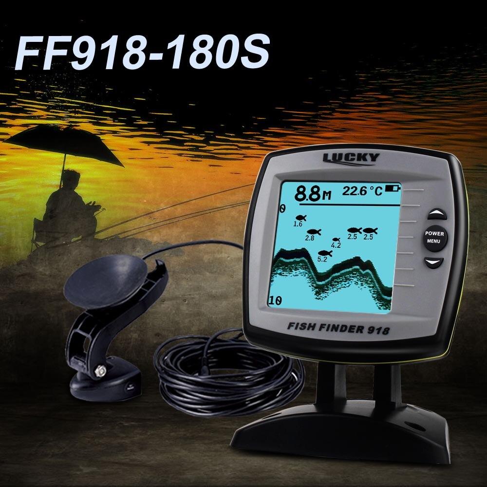Sorte inventor de peixes FF918-180S com fio transdutor sensor fishfinder 45 graus eco lcd localizador de peixes barco fishfinder detector de peixes