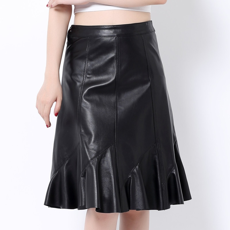 lady genuine leather natural real sheepskin female women A-line skirt knee-length raffle black plus size xxxxxl 2xl 3xl 4xl 5xl
