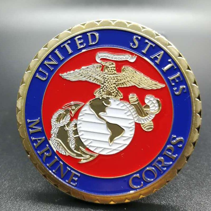 Moneda decorativa de 40 mm de la familia militar chapada en oro con insignia de Washington conmemorativa de Vietnam de la Marina de los Estados Unidos no magnética 100 Uds