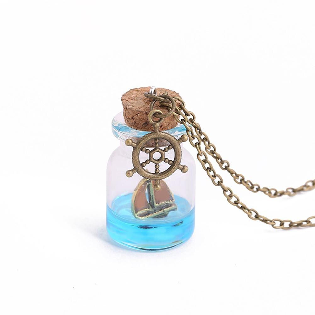 trendy Luminous Night Sailboat Glass Drift Bottle Pendant Women Necklace Jewelry Gift