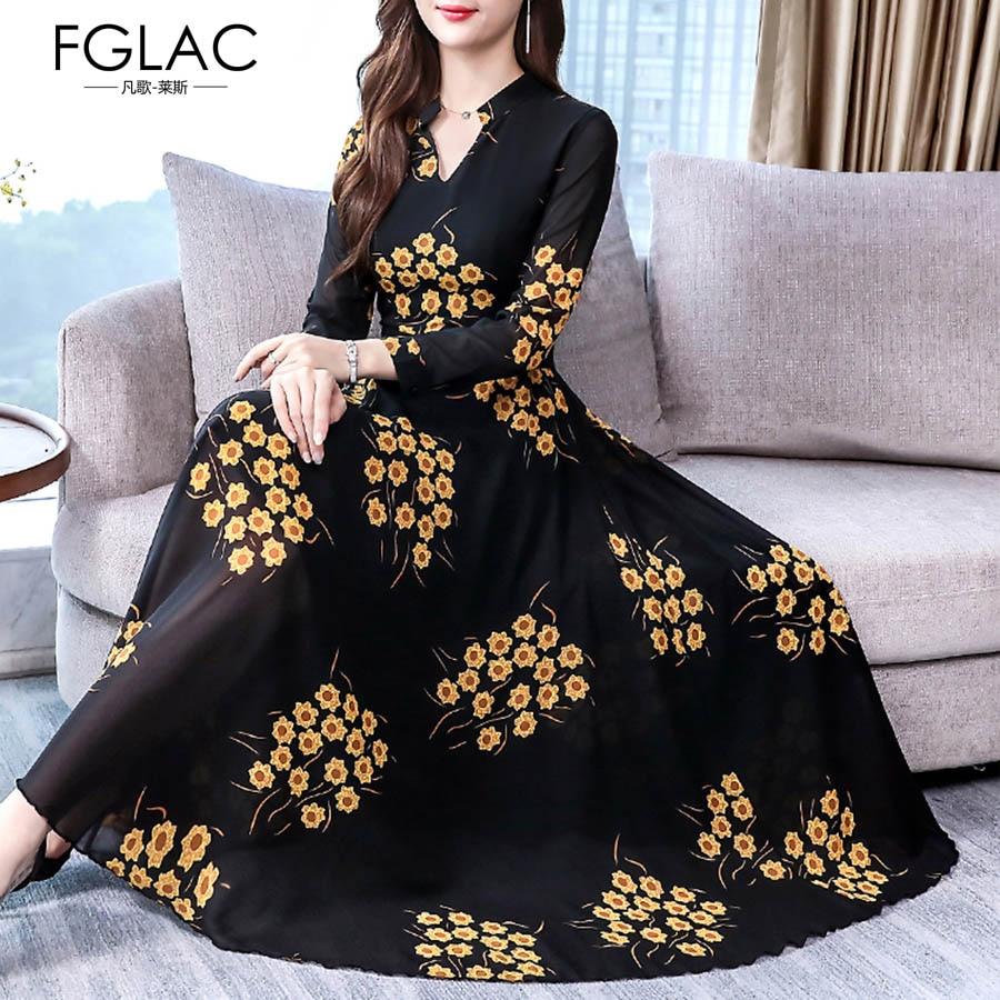 Floral elegant dress female 2019 new autumn women dresses temperament chiffon plus size long dress women clothes robe maxi dress