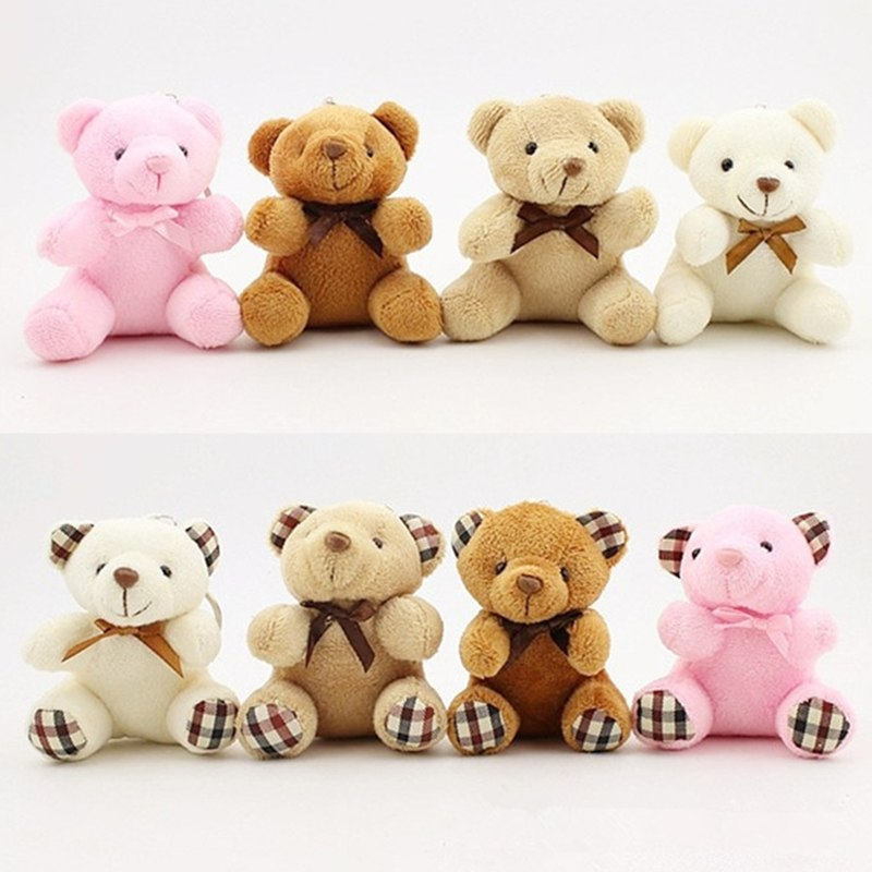 Cute Girls Pompom Teddy Bear Toy Keychain Women Plush Fur Cartoon Bear Key Chain on Bag Car Doll Trinket Jewelry Wedding Gifts