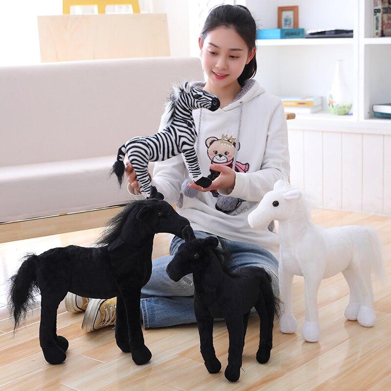 Simulação de transporte da gota branco/preto cavalo brinquedo de pelúcia bonecas animais de pelúcia brinquedos clássicos crianças presente de aniversário decoração para casa prop brinquedo