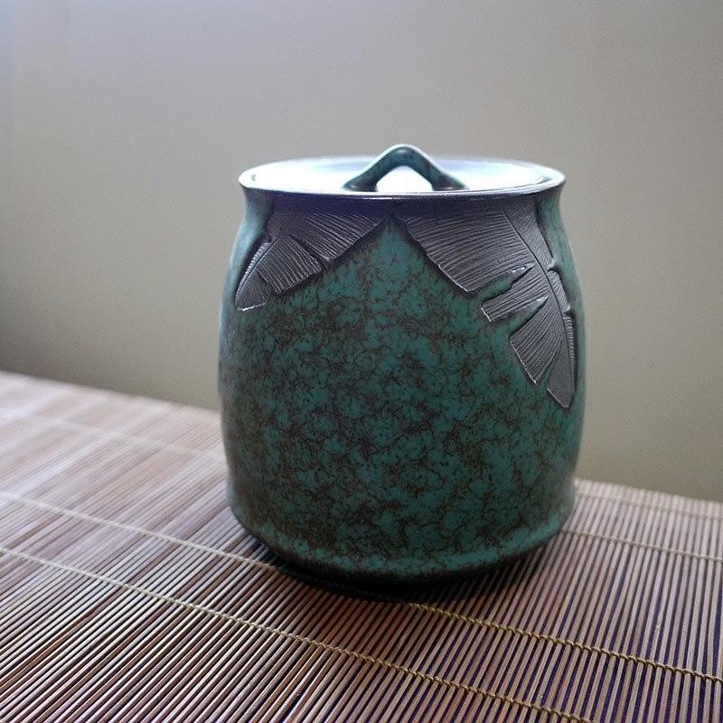 Creativos contenedores de té de cerámica gruesa Vintage accesorios para tetera té hojas de almacenamiento Jar frutos secos frijoles sello latas Decoración