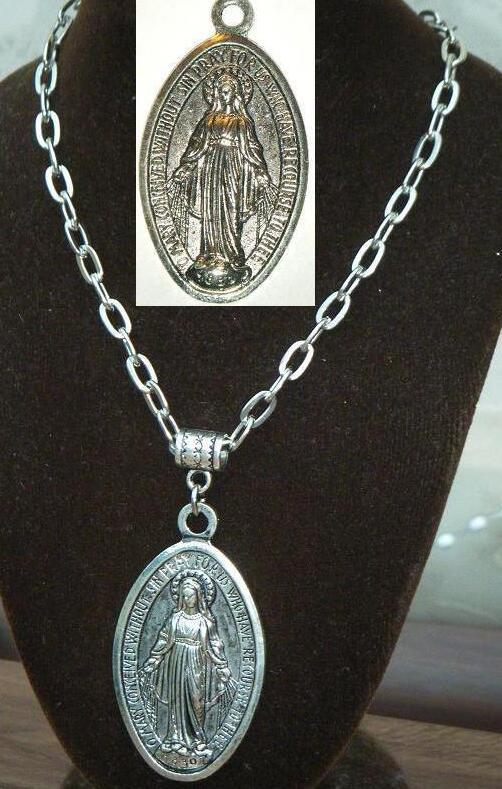Virgem Maria Colar Pingente Medalhão de Prata Vintage Charme Religiosa Católica Cruz Christian Colar Gargantilha Para As Mulheres de Jóias