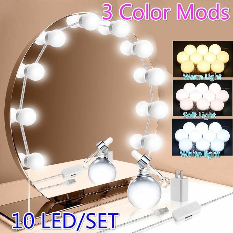 Maquillaje LED espejo luz Hollywood Vanity luces USB regulable tocador cosmético lámpara de pared para tocador