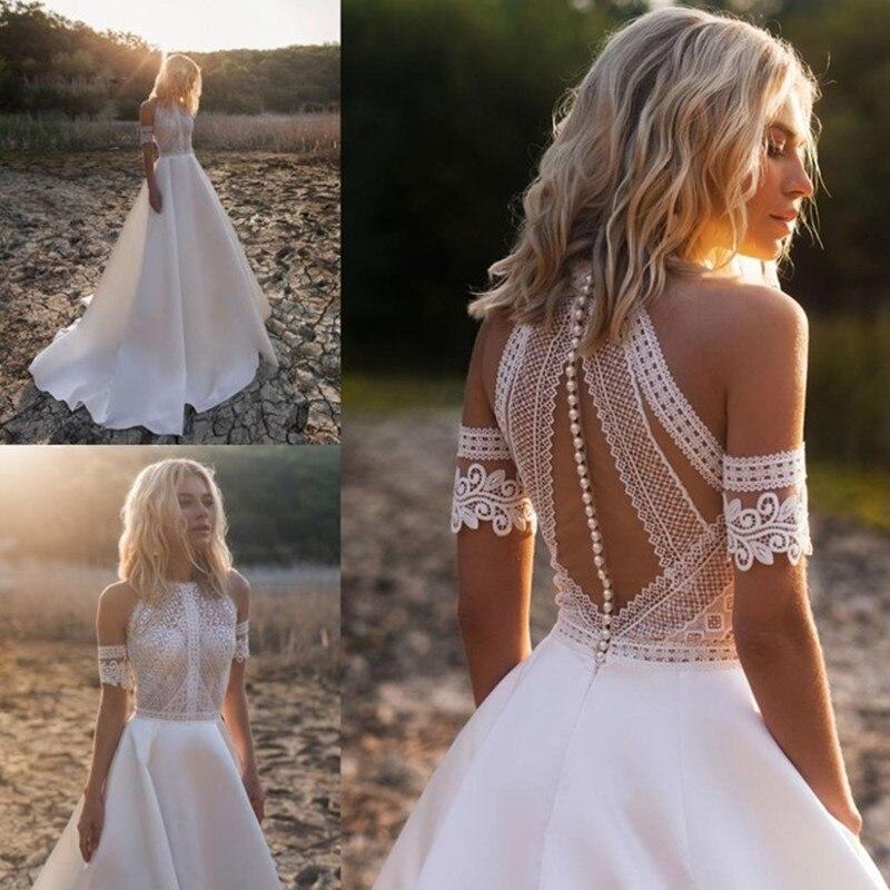 Boda vestidos 2019 encaje satinado vestidos De novia botón vestido De boda vestido De novia Mariee