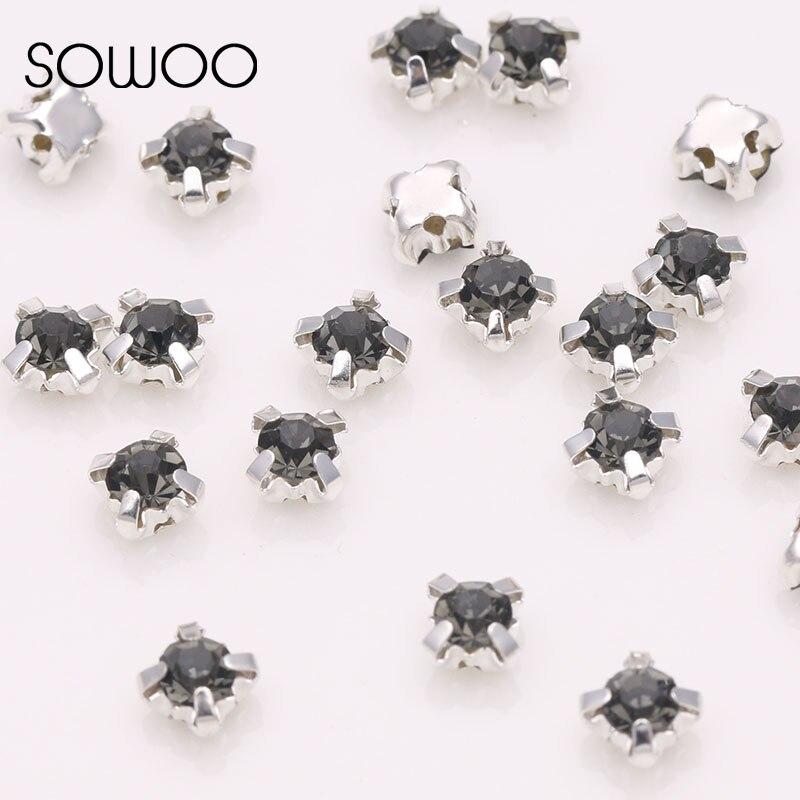 Diamante Negro 4 garra coser en Strass de cristal de diamante de imitación con garra plateada uso para vestido de boda zapatos completos bolsas todas las tallas SOWOO