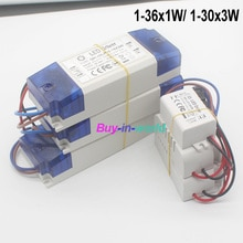 AC 85-265V 1-2x3w 2-4x3w 6-10x3w 10-18x3w 18-30x3w 1-36x1W 300- 650mA Controlador LED convertidor transformador para luz de techo