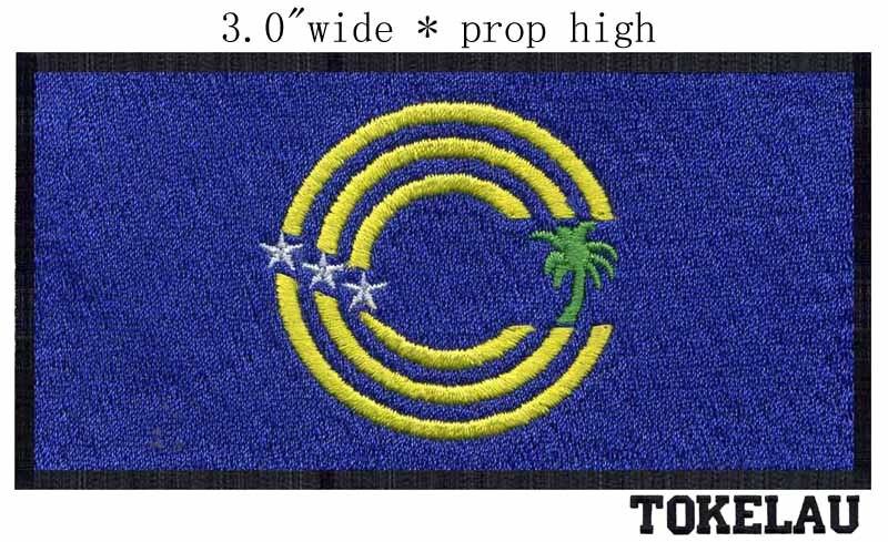 "Bandeira Tokelau 3 ""wide envio/azul patches/Tampas de banners/Pequeno remendo"