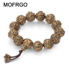 Vintage bouddhisme tibétain en laiton Bracelet à breloques Six mots Mantras OM MANI PADME HUM bonne chance amulettes perles Bracelet pour hommes