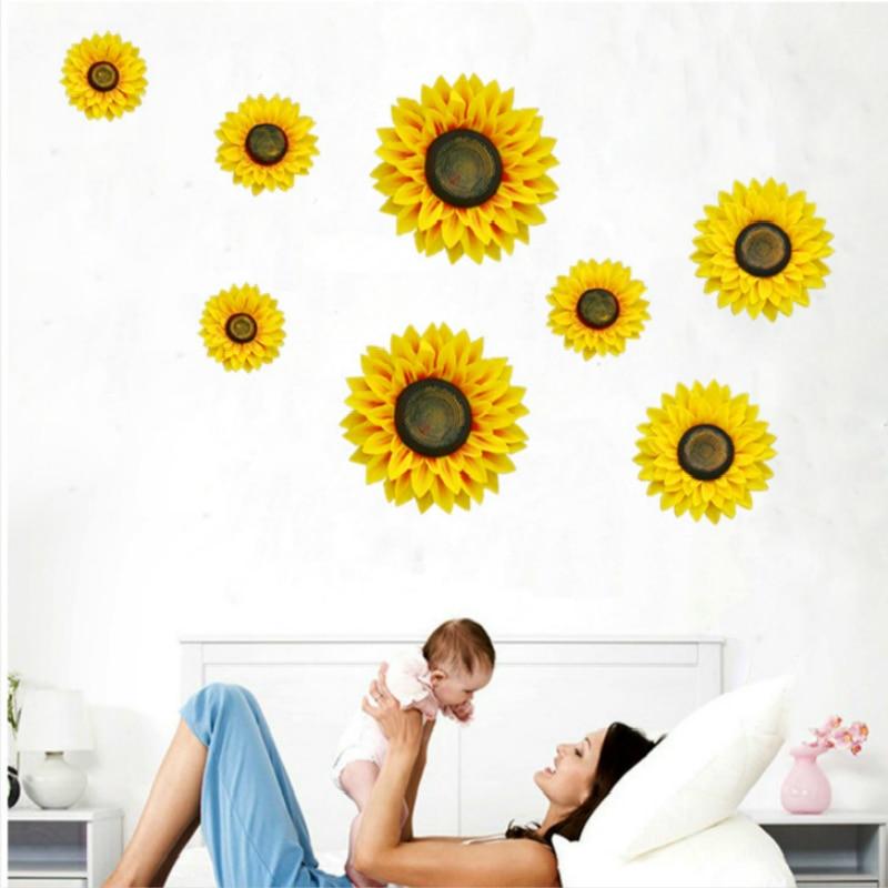 Creativo tridimensional simulación girasol pared sala de estar dormitorio dulce romance Planta flores porche decoración pared flor